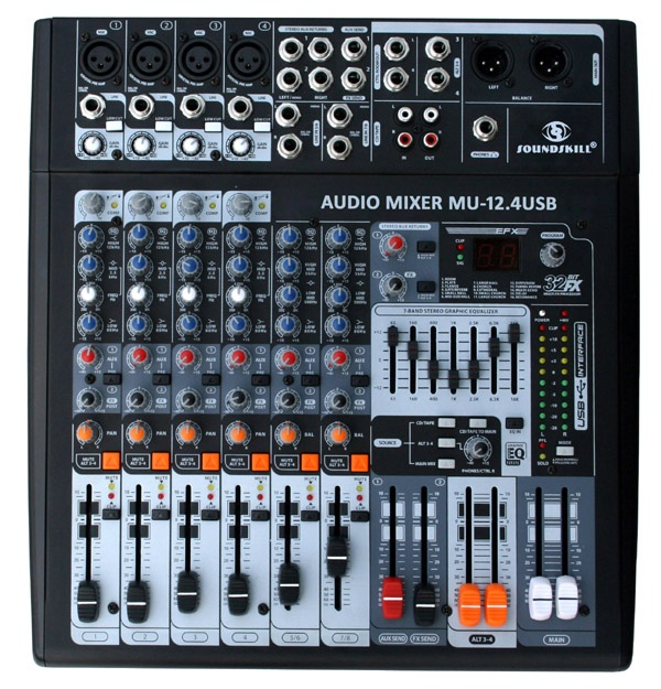 8 channel audio mixer with usb interface. Black Bedroom Furniture Sets. Home Design Ideas